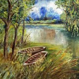 Eilish O'Mahoney, Lake Scene, 2000, oil on canvas, 35.5 x 41cm