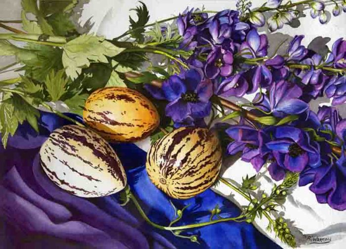 Rosemary Warren, Still Life in Purple, 2002, watercolour on watercolour paper, 77 x 66cm .